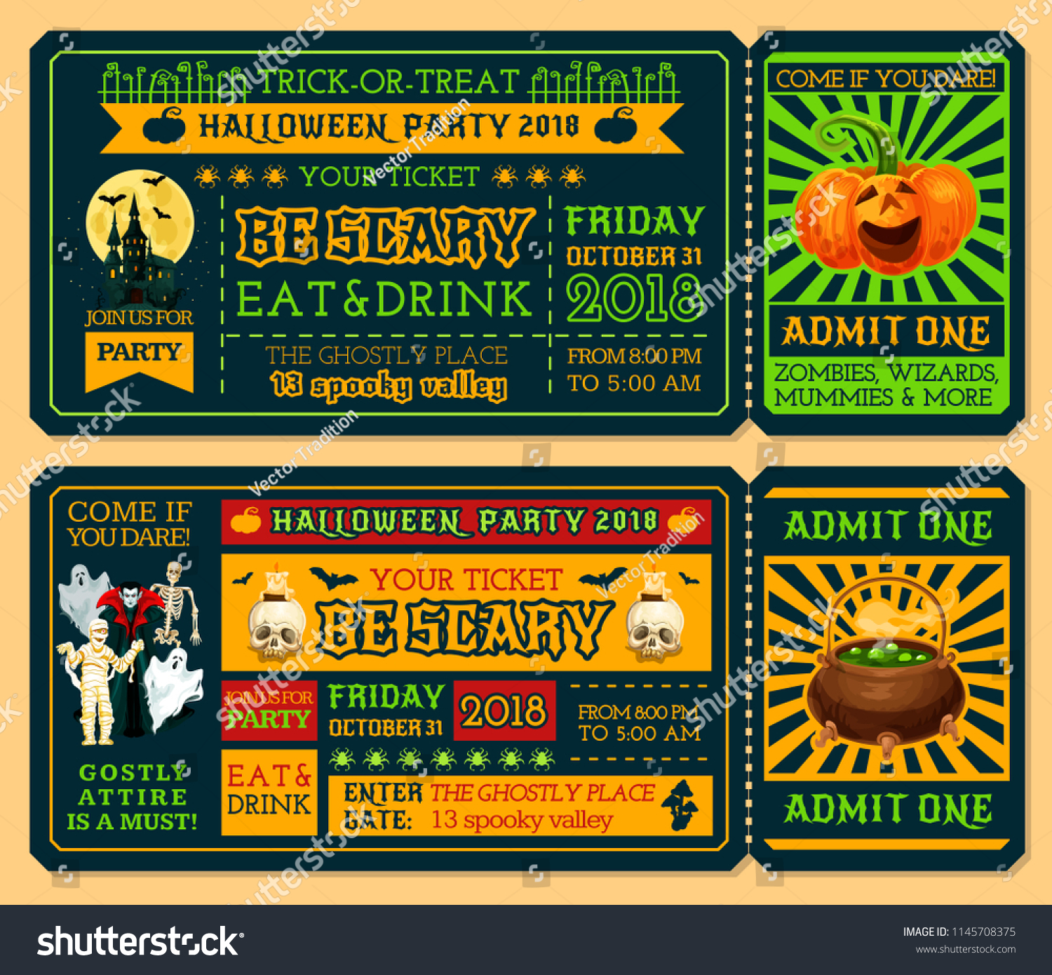 halloween ticket template for october holiday night party admit one ticket design with horror pumpkin
