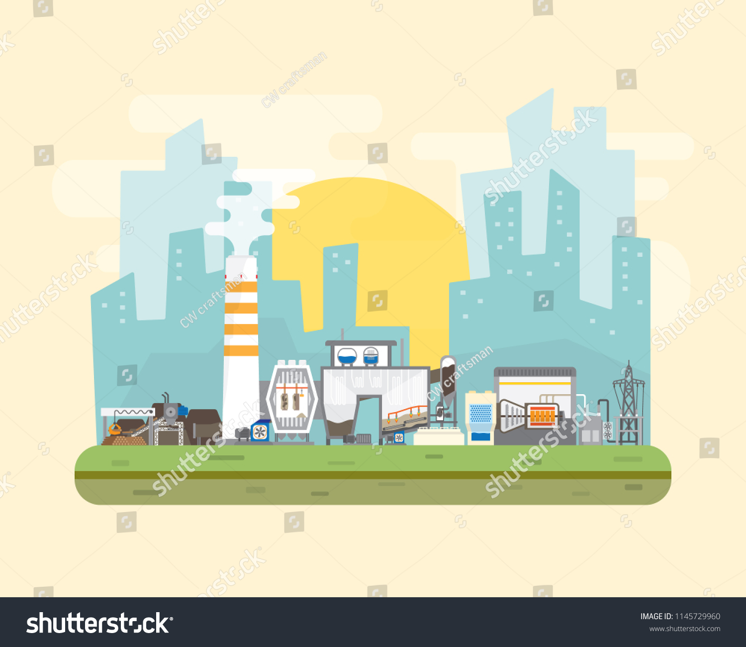 Biomass Energy Biomass Power Plant Simple Stock Vector (Royalty Free ...