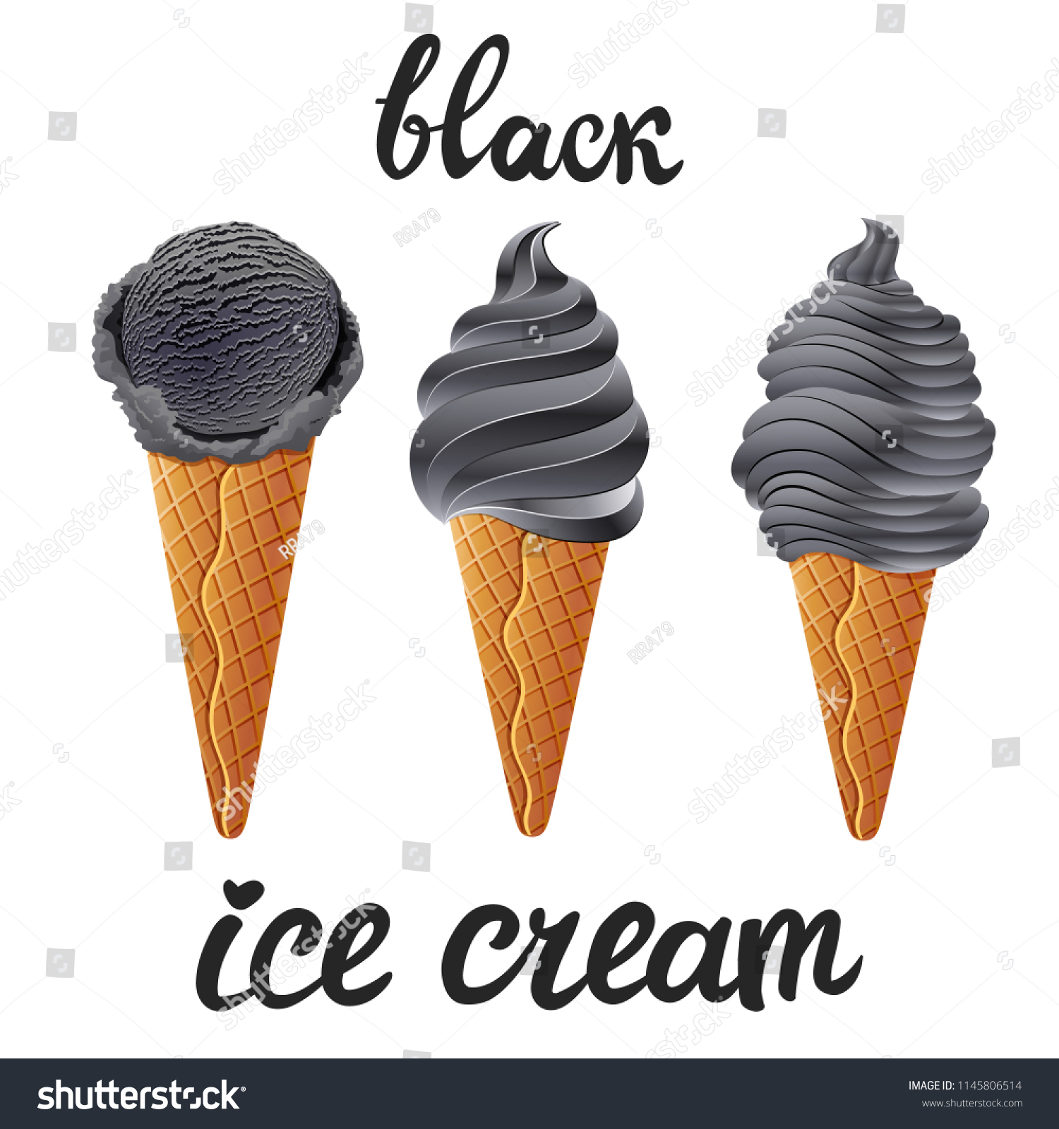 vector set black ice cream dark stock vector royalty free 1145806514 https www shutterstock com image vector vector set black ice cream dark 1145806514