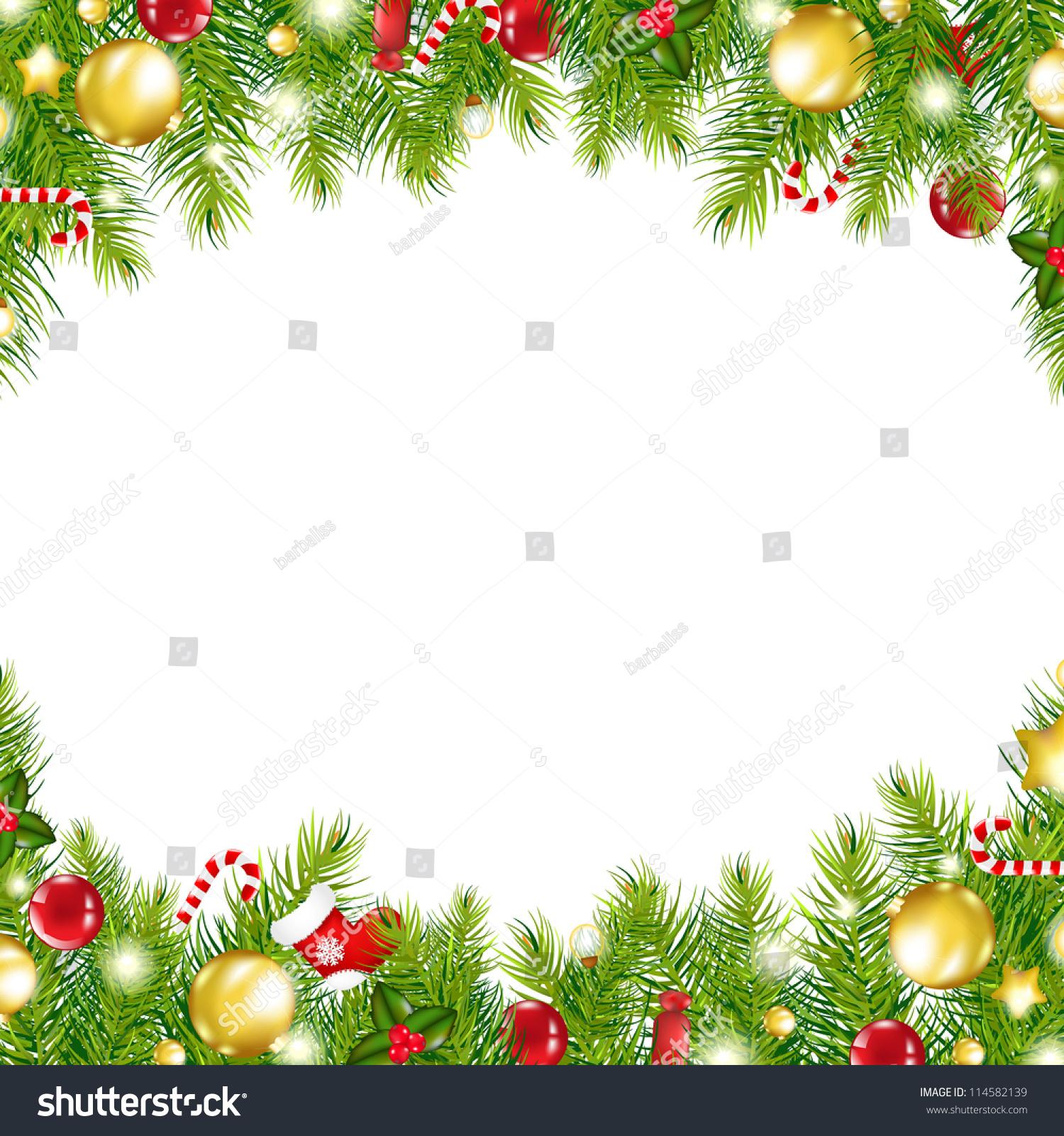 Christmas Vintage Border, Isolated On White Background