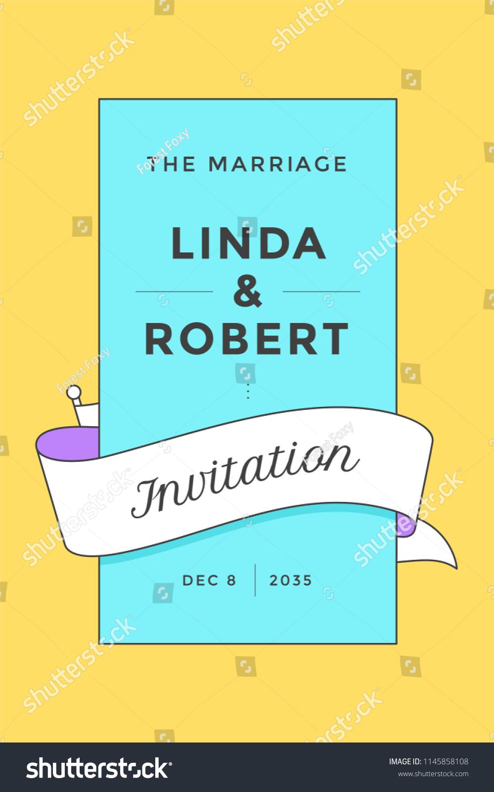 Wedding Invitation Vintage Wedding Invitation Marriage Stock Vector