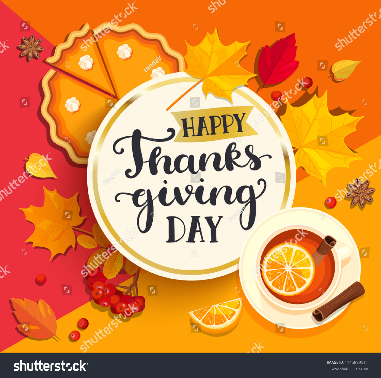 Happy Thanksgiving Day Lettering Gold Circle Stock Illustration