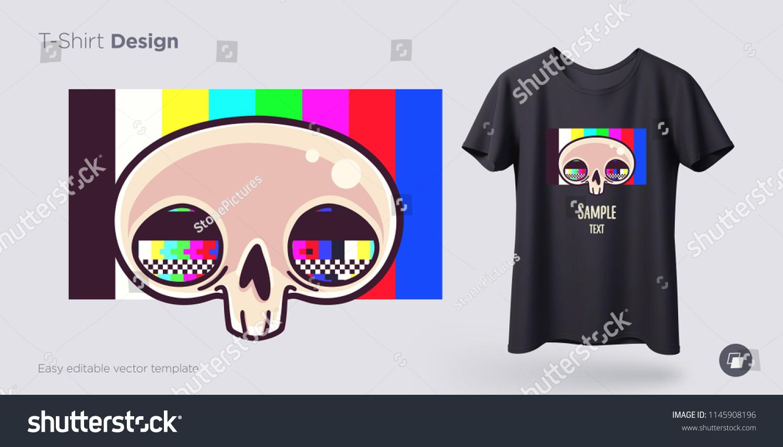 Skull Tv Grid Tshirt Design Print Stock Vector Royalty Free