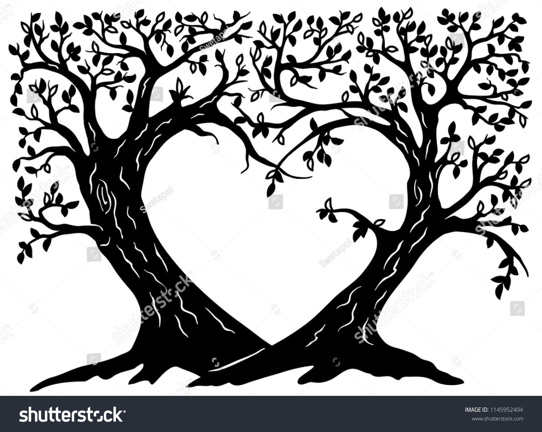 Valentines Wish Trees Silhouette Wedding Tree Stock Vector Royalty Free 1145952404