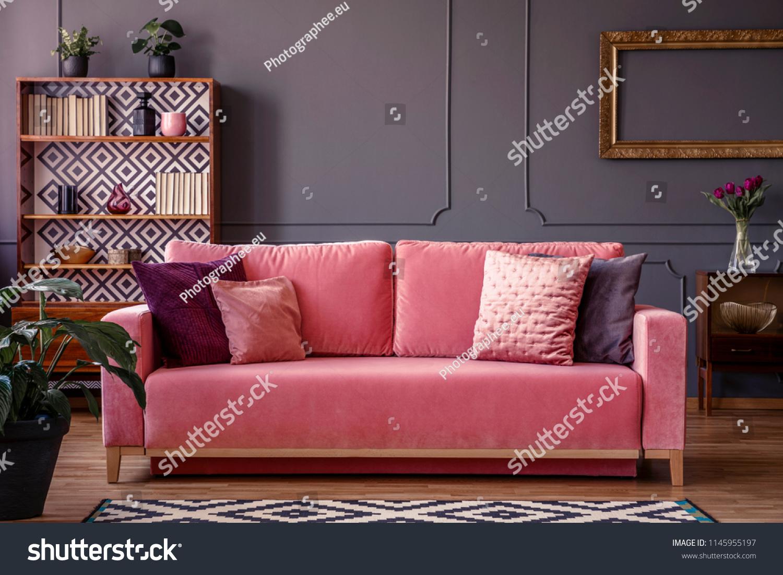 Satin Pillows On Pink Velvet Sofa Stock Photo Edit Now 1145955197