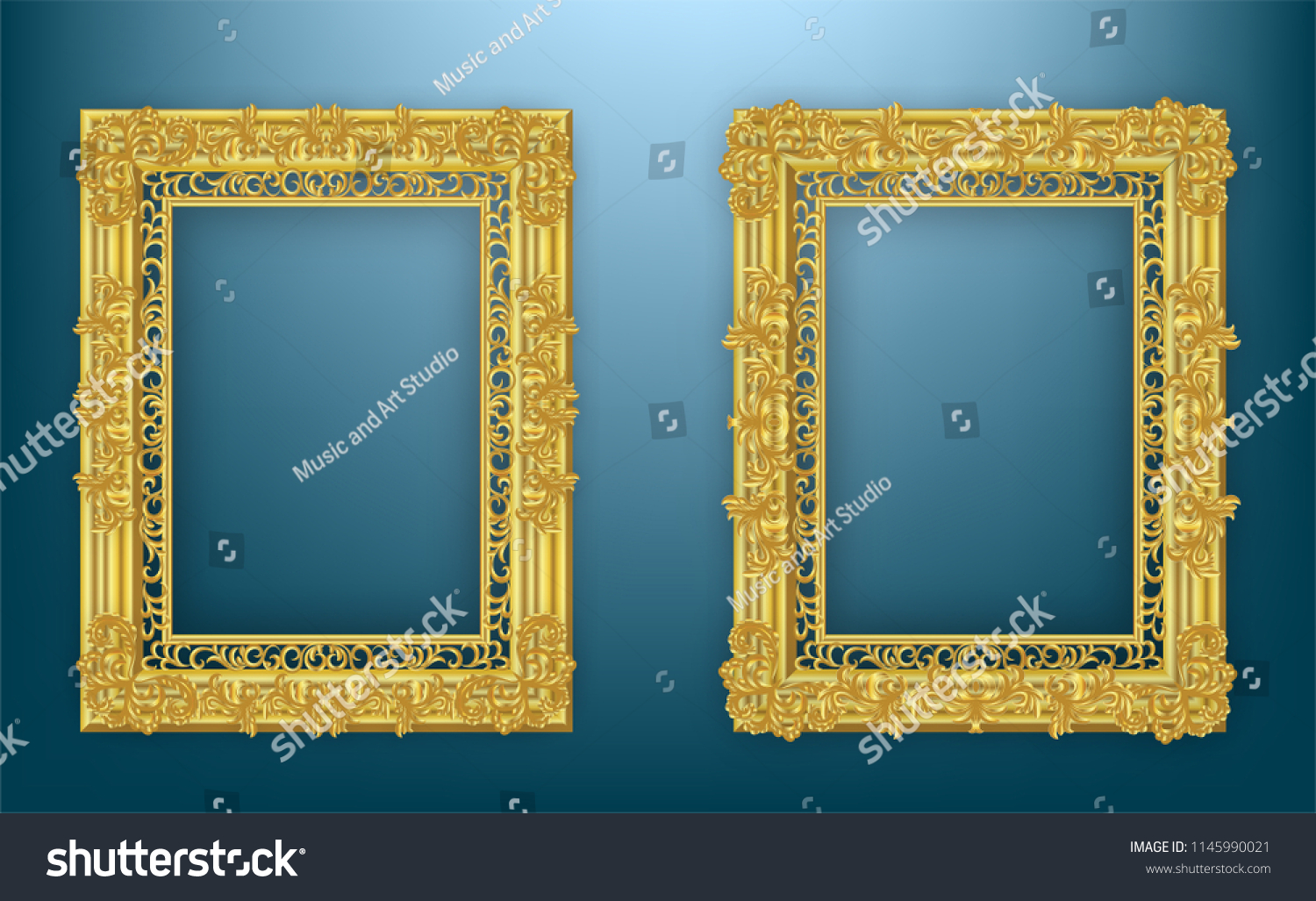 1da3e79449d Gold frame. with borders floral Baroque for picture.Set of Decorative  vintage frames and.