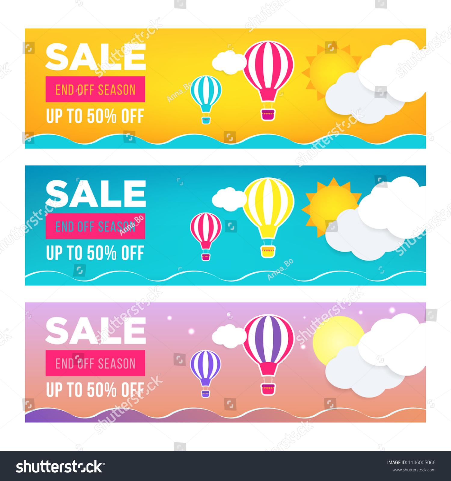 Sale Banner Template Design Set Web Stock Vector (Royalty Free ...