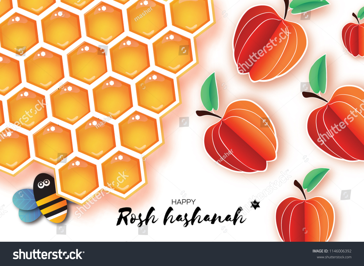Jewish New Year Rosh Hashanah Greeting Stock Vector Royalty Free