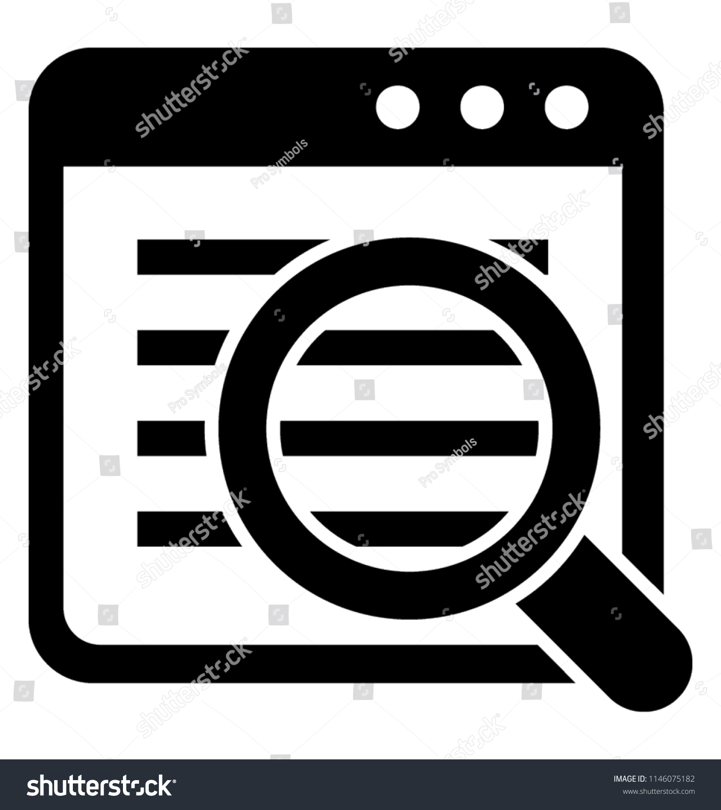 Magnifier Glass Lens On Website Web Stock Vector Royalty Free