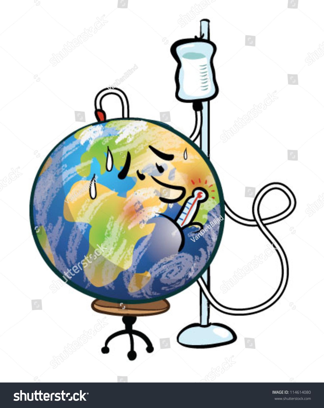 Sick Earth Cartoon Stock Vector 114614080 Shutterstock