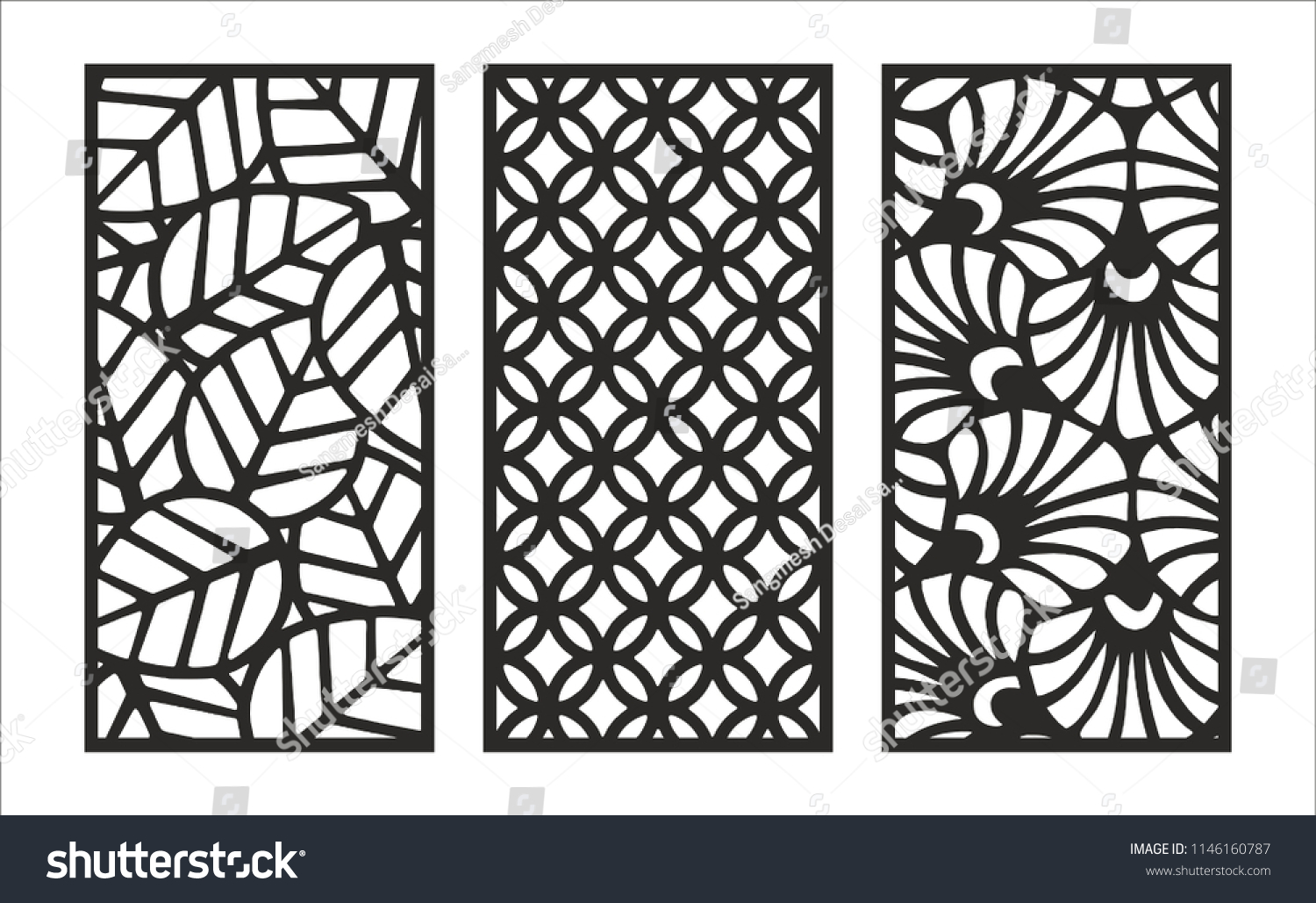 Jali Design Graphic Plywood Partition Foam Stock Vector
