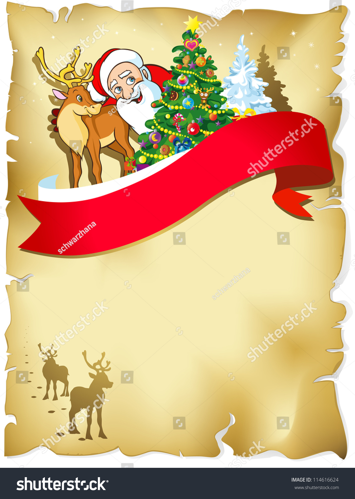 Merry Christmas Frame With Santa, Reindeer, Snow And Romantic Silhouette In  Snowy Landscape On