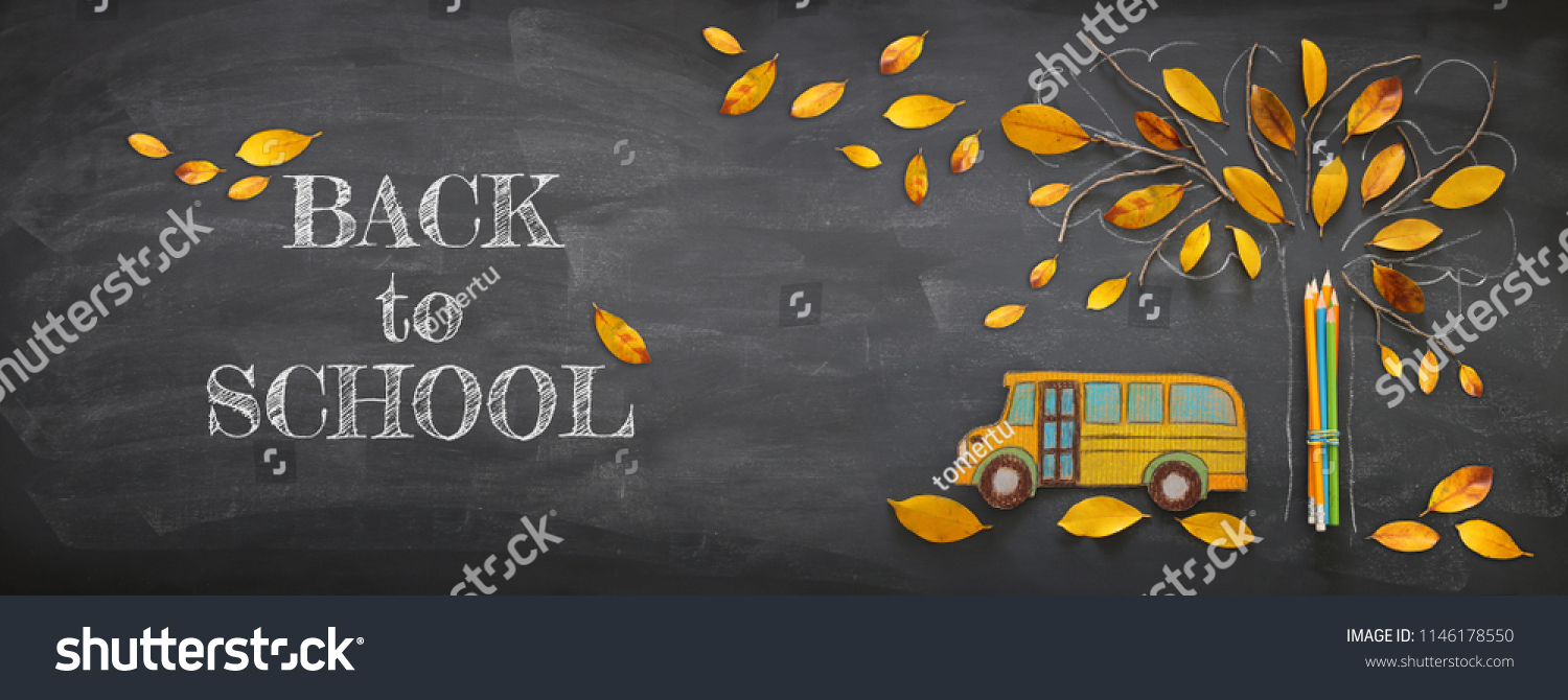 Back to school concept. Top view banner school bus and pencils next to tree sketch with autumn dry leaves over classroom blackboard background #1146178550