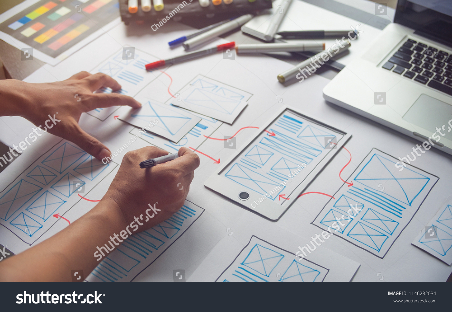 ux Graphic designer creative  sketch planning application process development prototype wireframe for web mobile phone . User experience concept. #1146232034