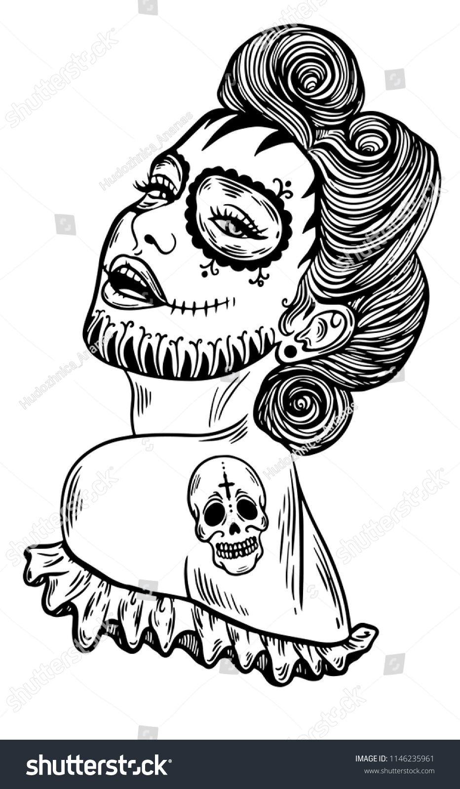 Easy Drawings Skull Girl Mexican Holiday Www Topsimages Com