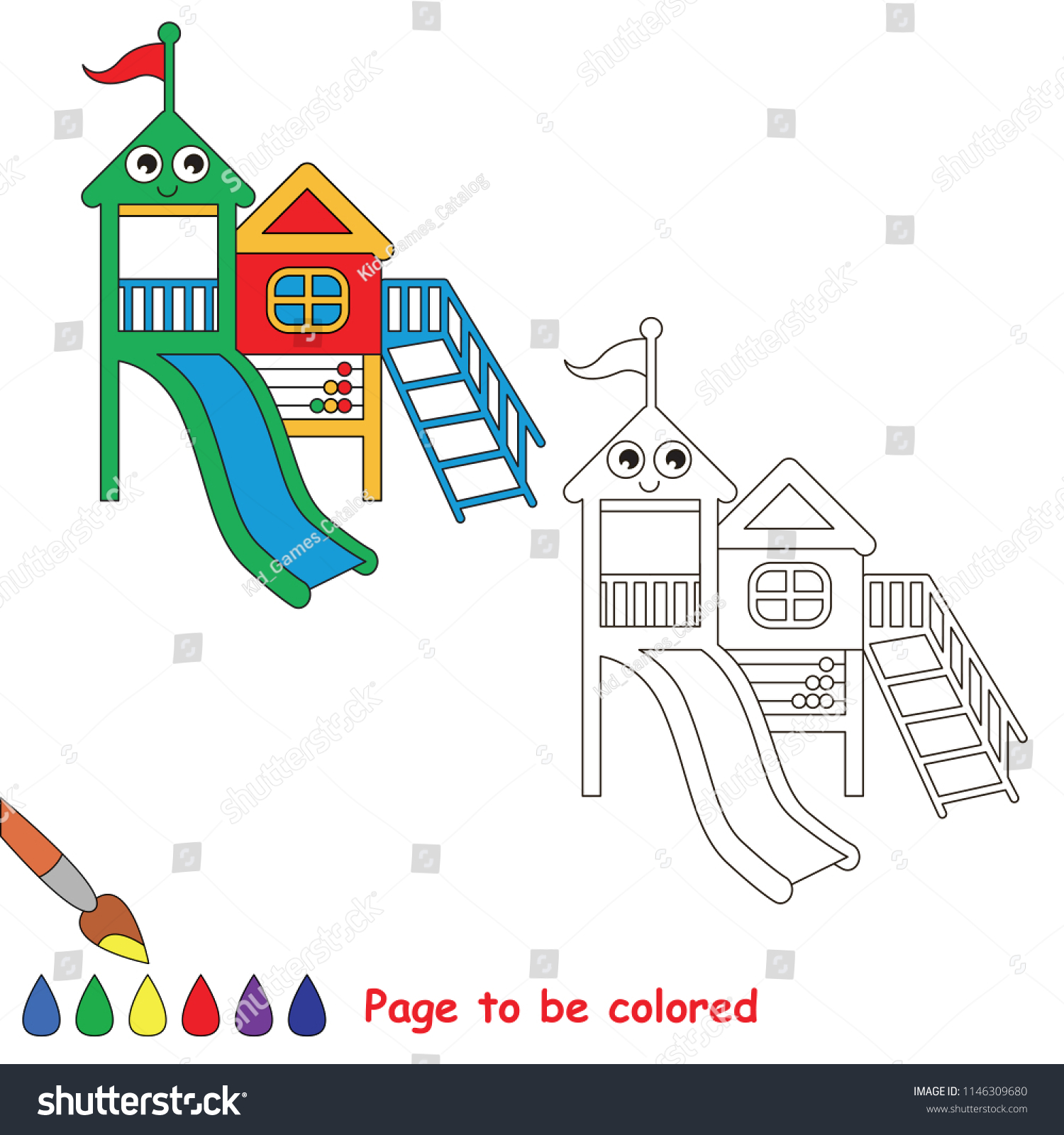 stock vector outdoor playground rainbow smiley to be colored the coloring book for preschool kids with easy