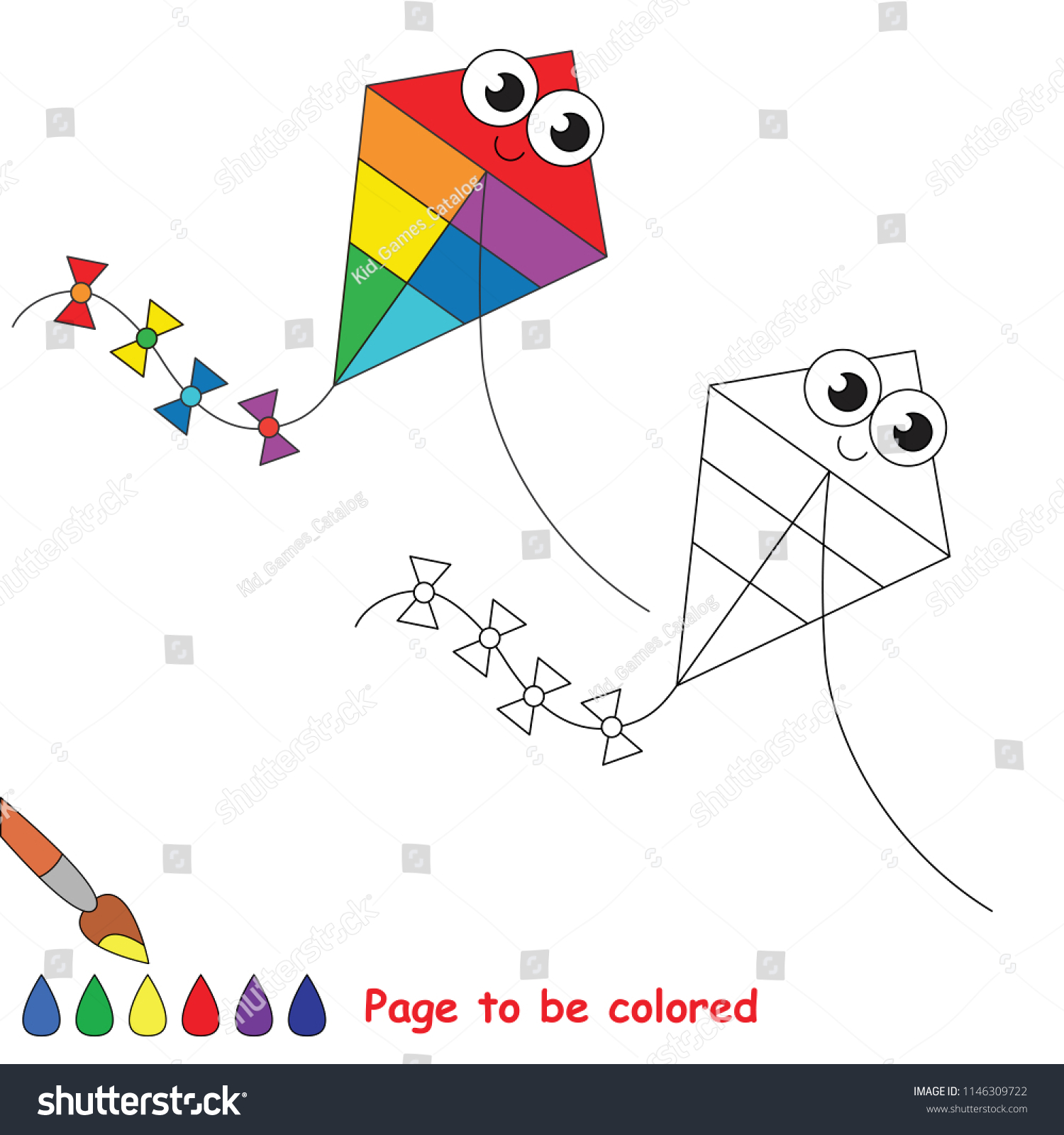 Kite Flying Smiley Be Colored Coloring Stock Vector Royalty Free