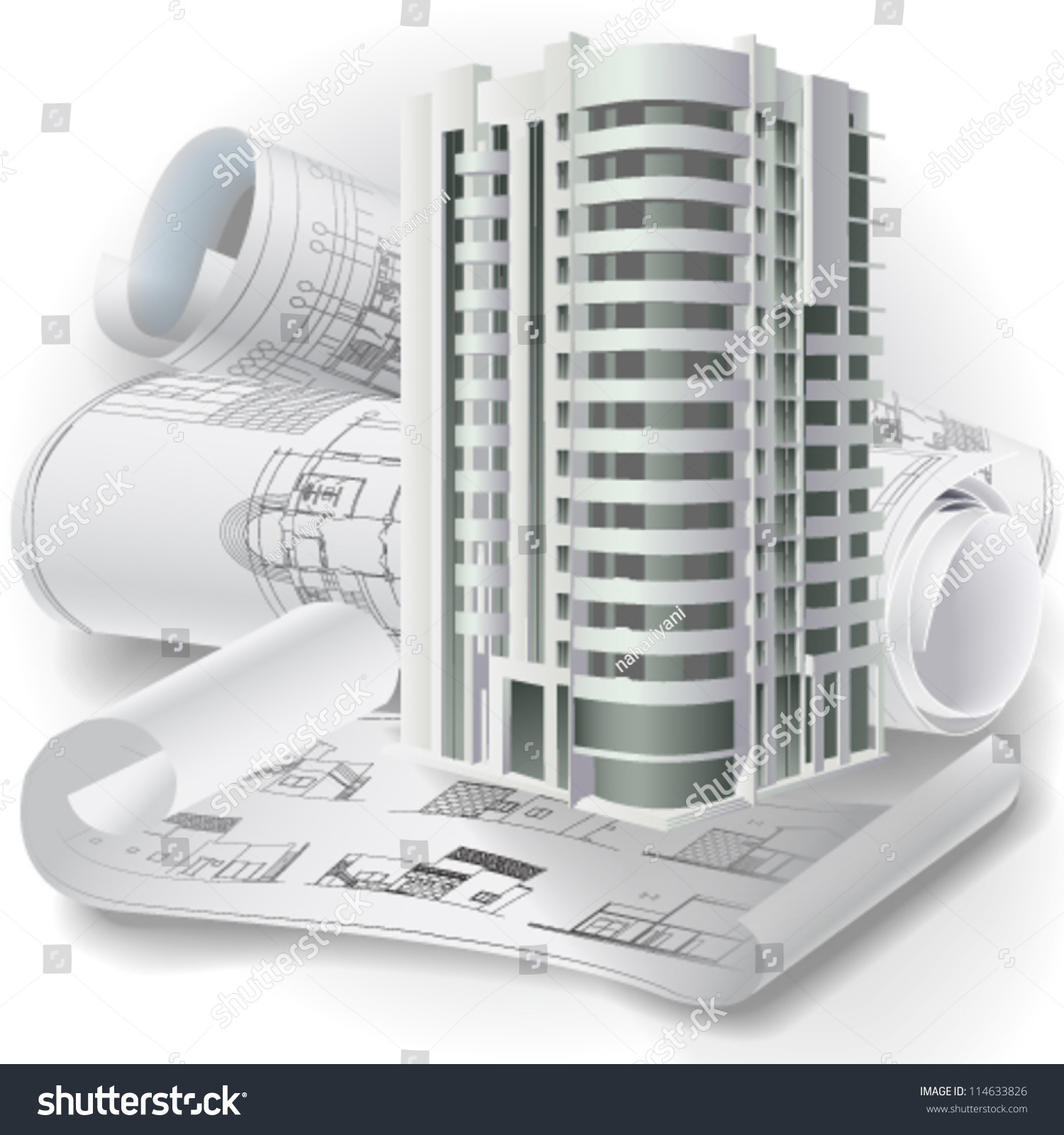 Architectural Background 3d Building Model Rolls Stock