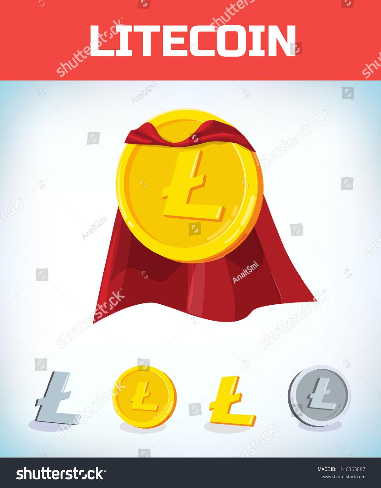 Funny Super Hero Businessman Flying Litecoin Stock Vector
