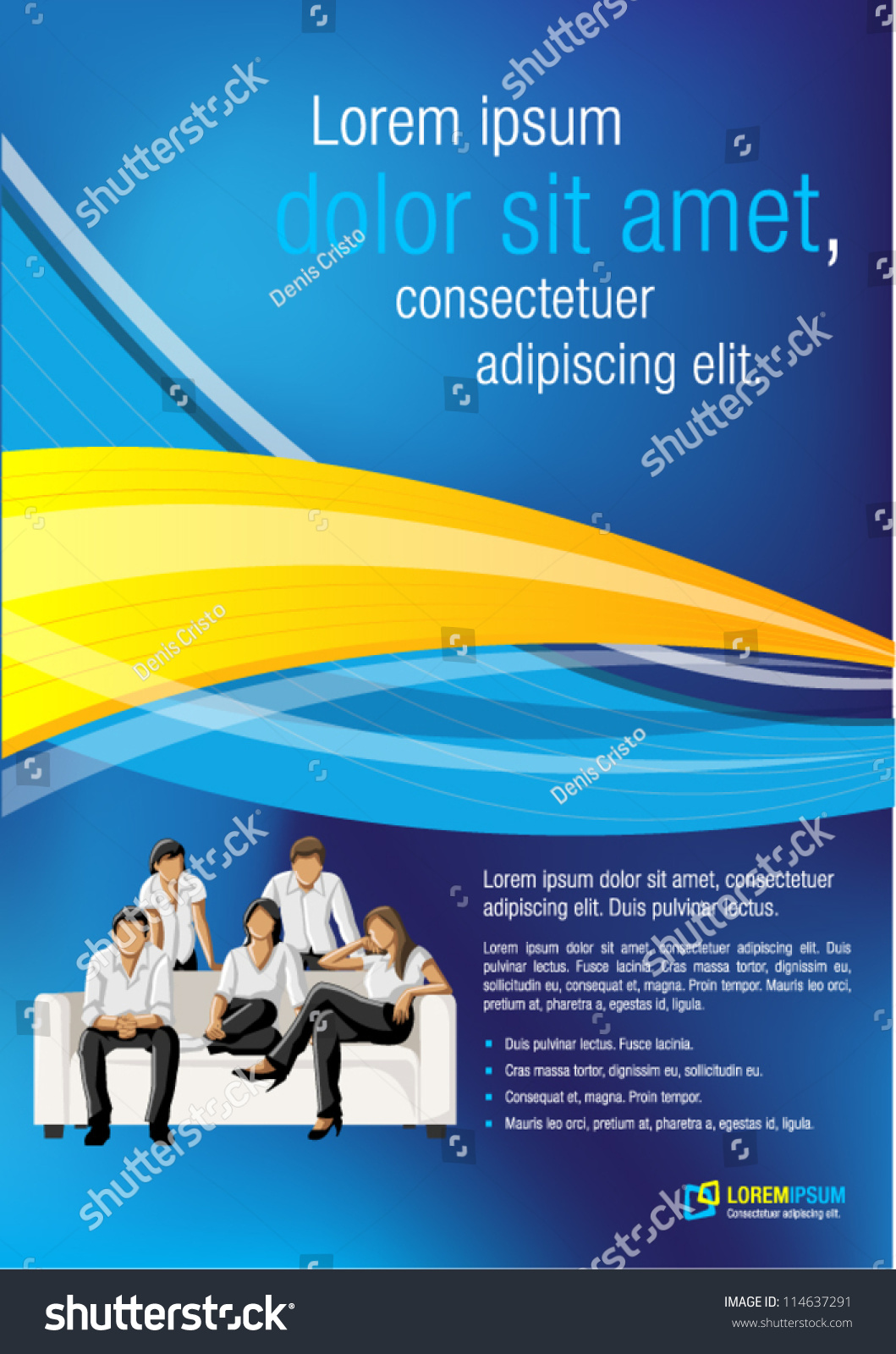 blue and yellow template for advertising brochure business blue and yellow template for advertising brochure business people stock vector illustration 114637291 shutterstock