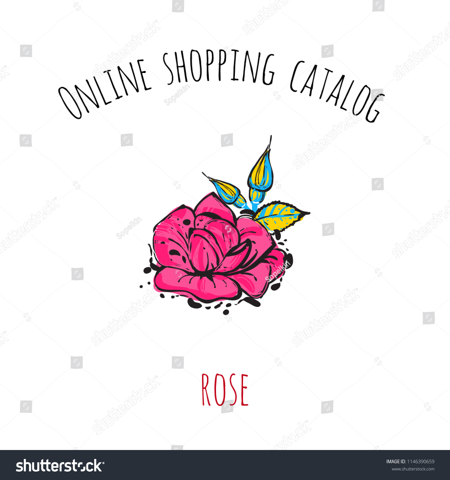 5fb3e21962e6 Online shopping catalog  rose. Patch illustration with fashion element