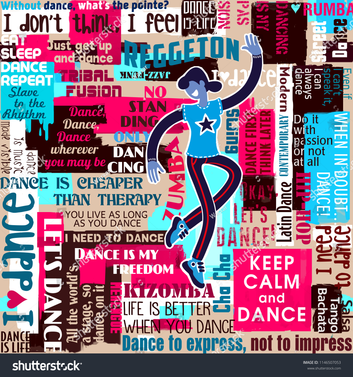 Dancers Dance Sayings Quotes Collage Seamless Stock Illustration