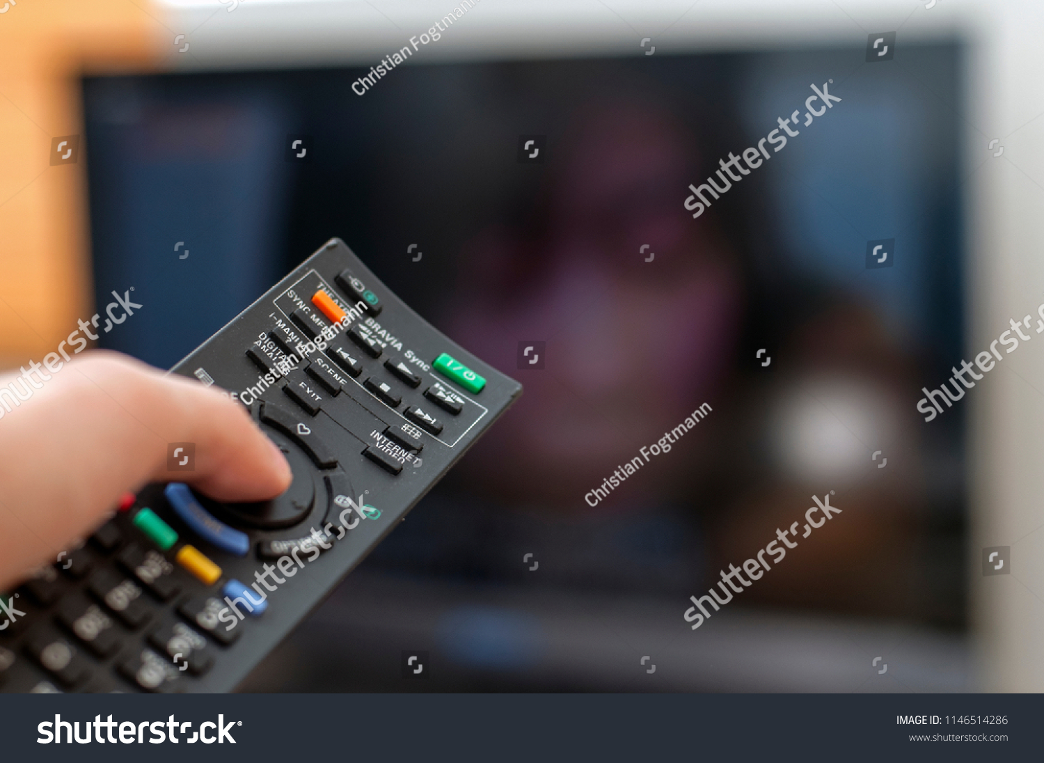Remote Control Pointing Towards Tv Stock Photo (Edit Now