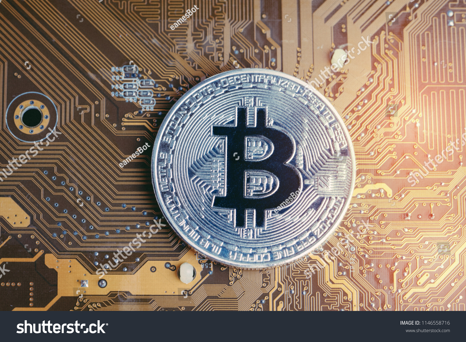 Crypto Currency Bitcoin Digital Money Concept Stock Photo Edit Now Circuitry Of An Electronic Calculator Royalty Free Photography Shiny Golden Physical Coin On Technology And Electronics