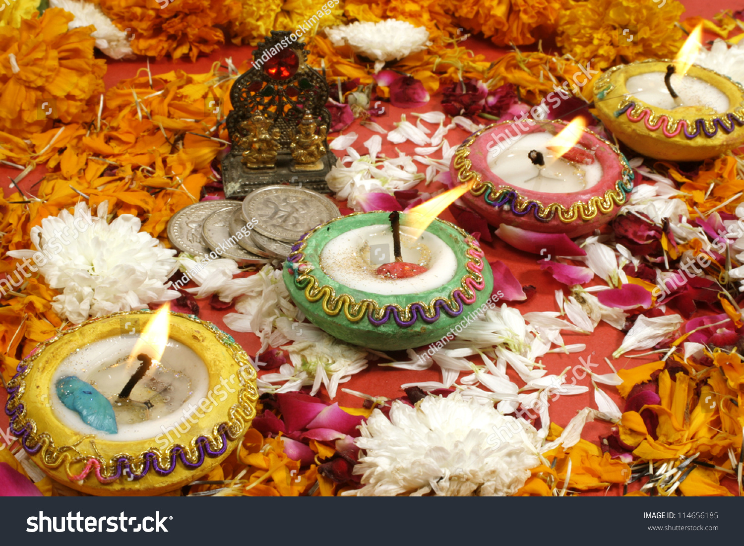 Indian Festival Decoration Diwali Prayer Decoration On Traditional Indian Stock Photo