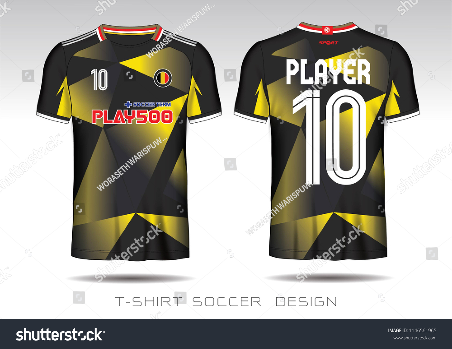 Soccer Jersey Template Black Yellow Layout Stock Vector Royalty