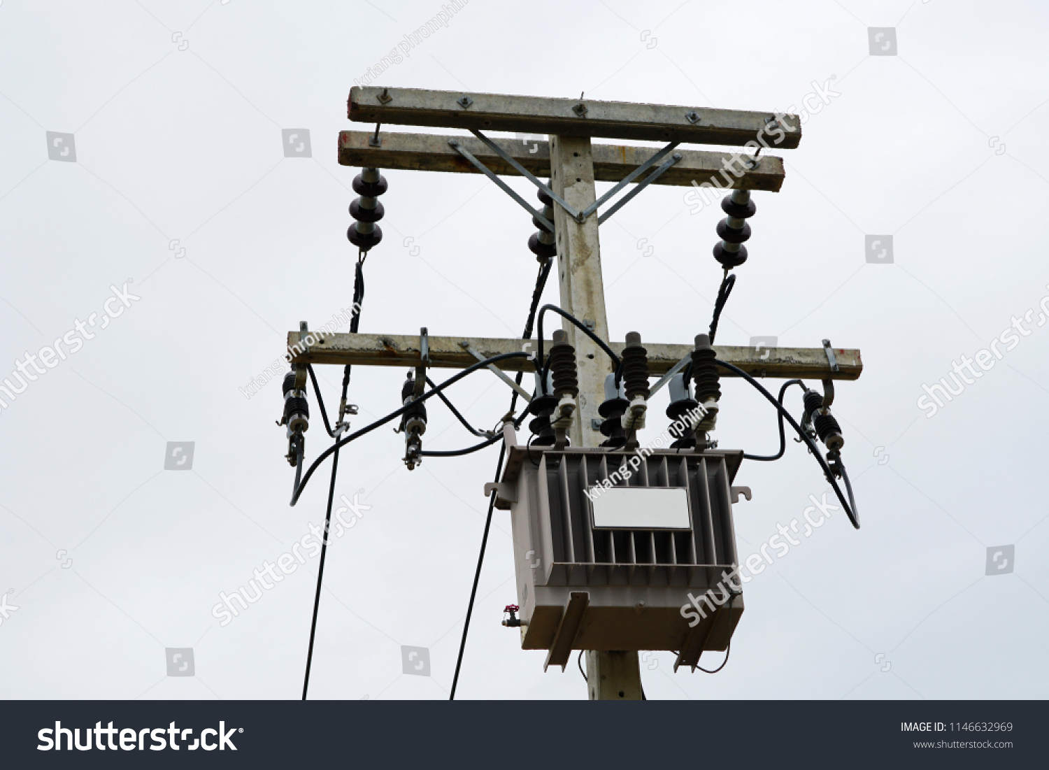 Ac Highvoltage Power Transformer Electrical Energy Stock Photo Edit Overhead Wiring Diagram High Voltage Transfer To End Users Through Distribution