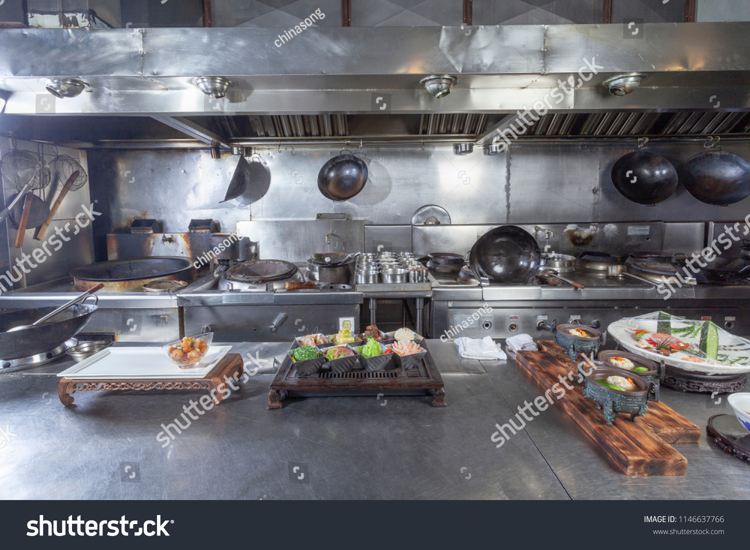 Typical Chinese Restaurant Kitchen Unmanned Scene Stock Photo Edit Now 1146637766