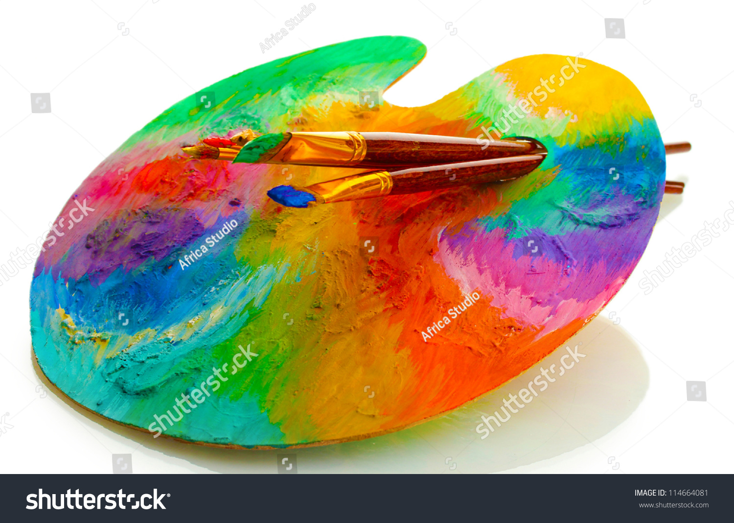 wooden art palette paint brushes isolated stock photo 114664081 shutterstock. Black Bedroom Furniture Sets. Home Design Ideas
