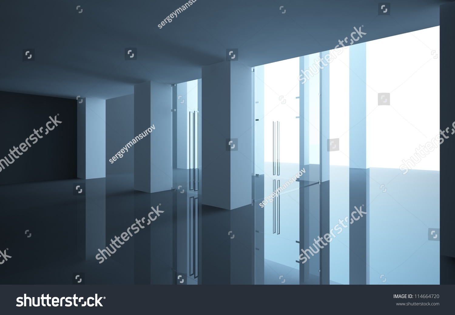 interior office doors with glass. Abstract Interior Office Or Shop With Glass Doors And A Sloping Ceiling