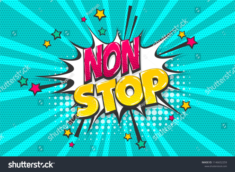 Non Stop Phrase Wow Comic Text Stock Vector (Royalty Free