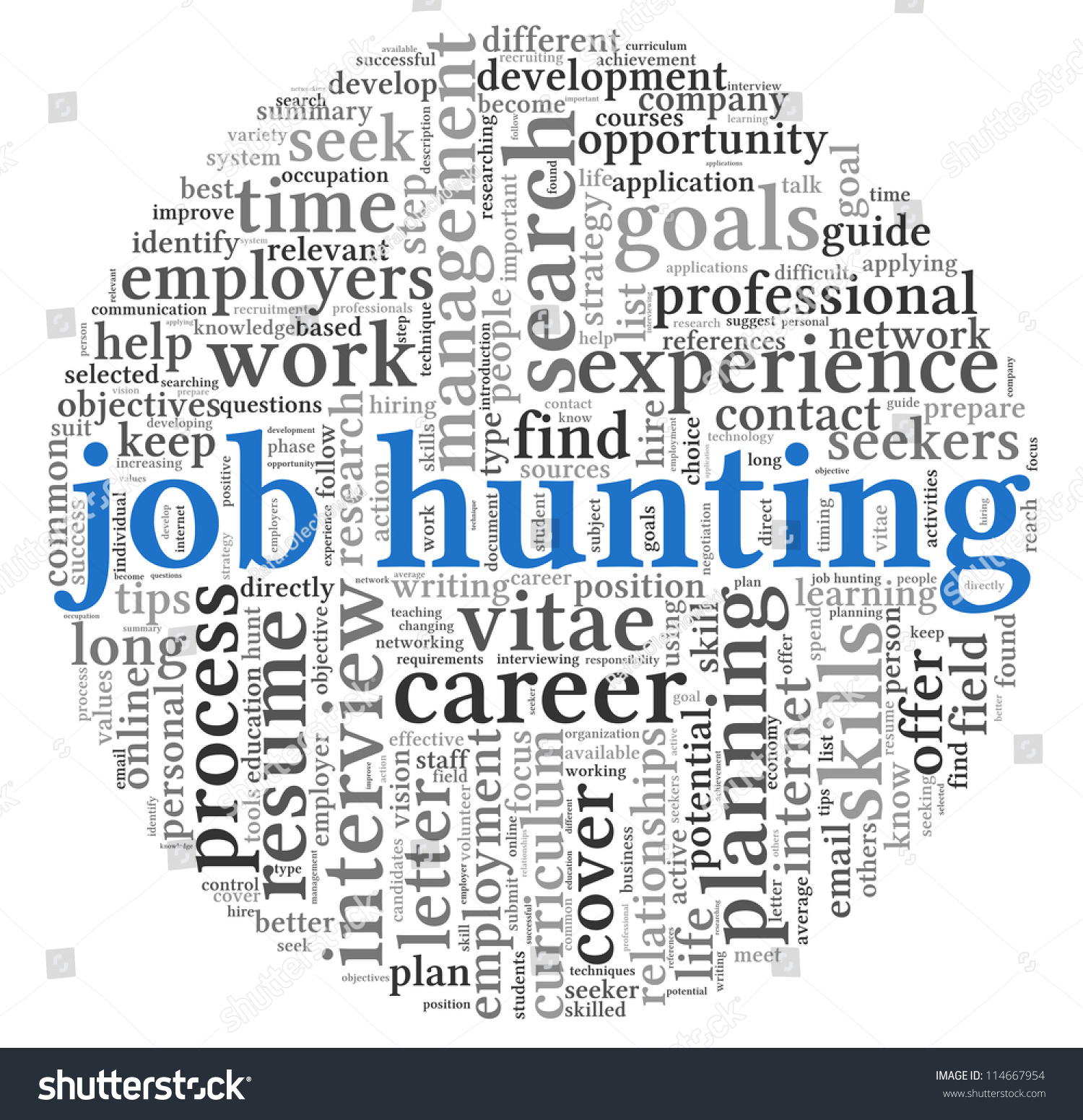 job hunting concept in word tag cloud on white background stock save to a lightbox