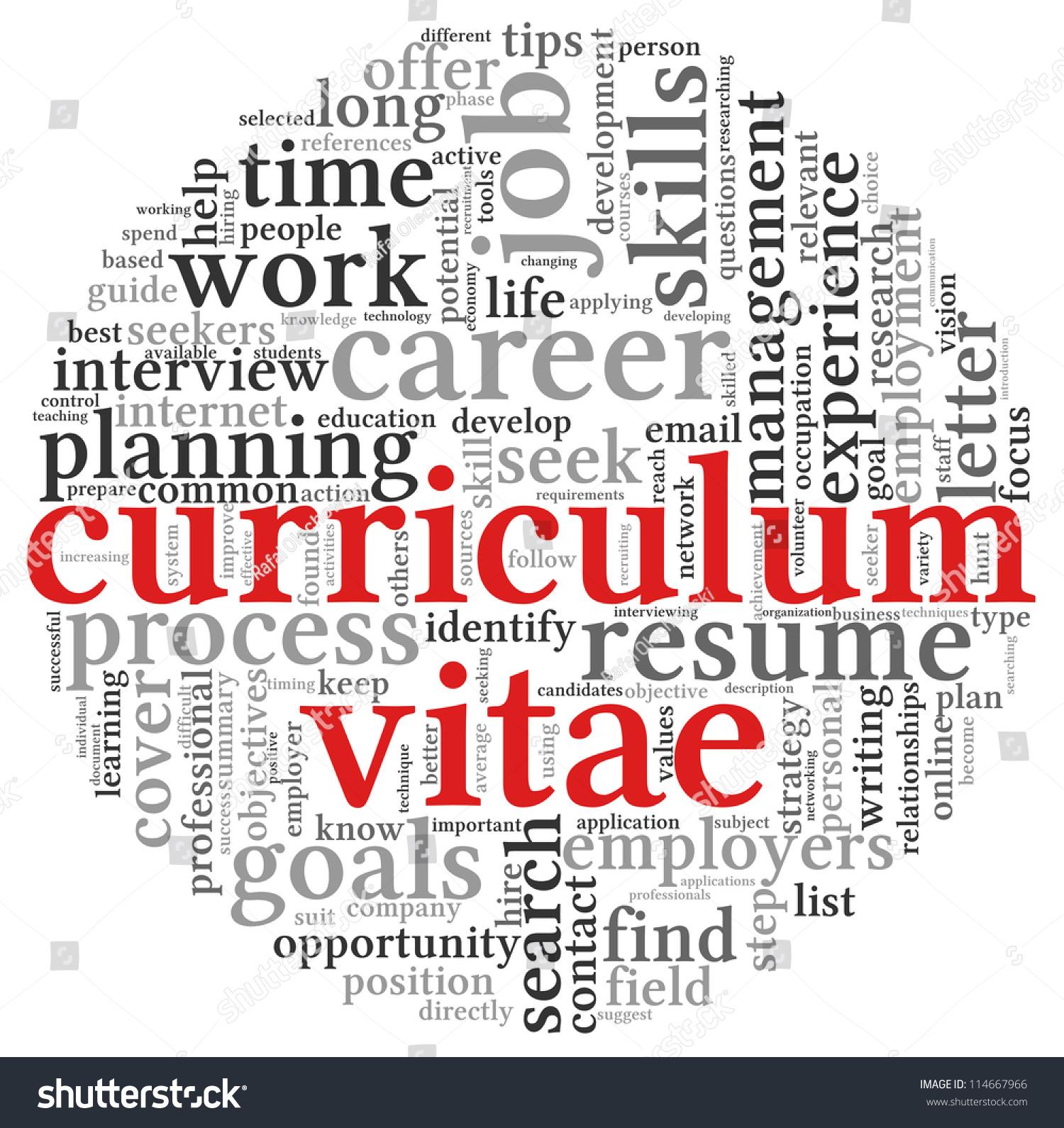curriculum vitae cv concept word tag stock illustration