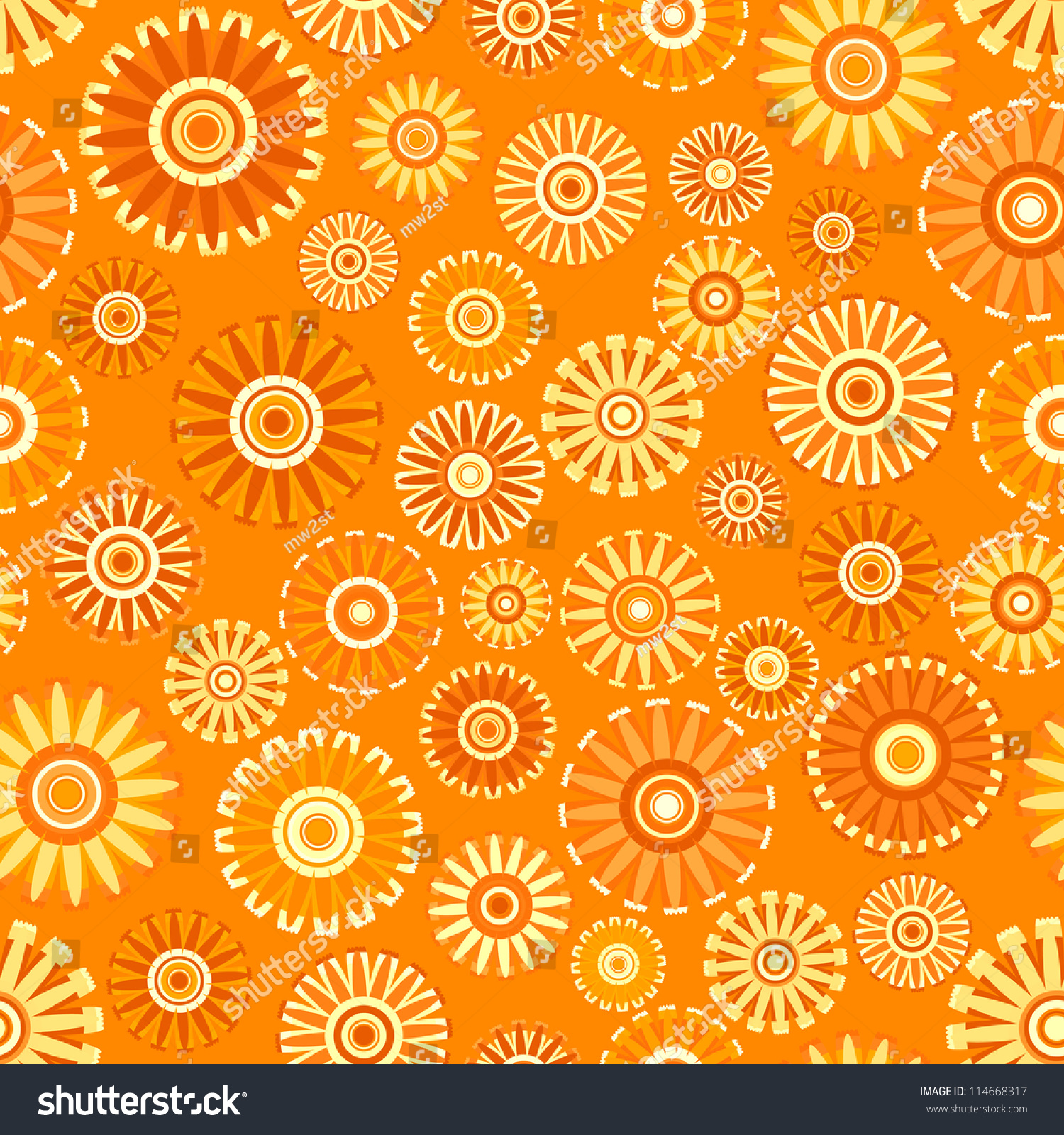 Vintage Flower Seamless (Orange Floral