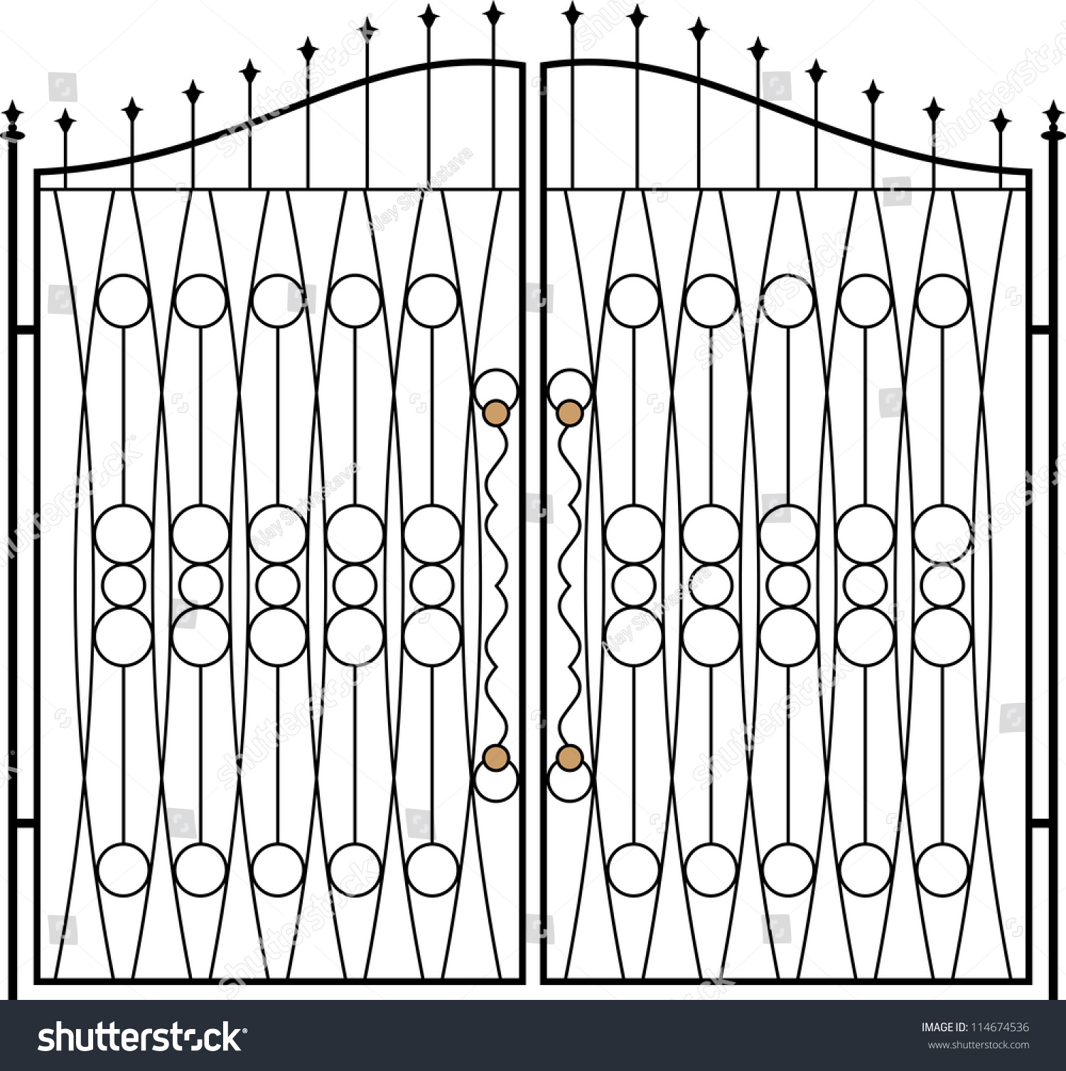 wrought iron gate door fence window stock illustration