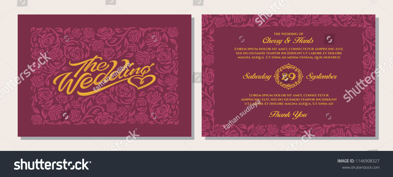 Luxury Vintage Wedding Invitation Templates Cover Stock Vector