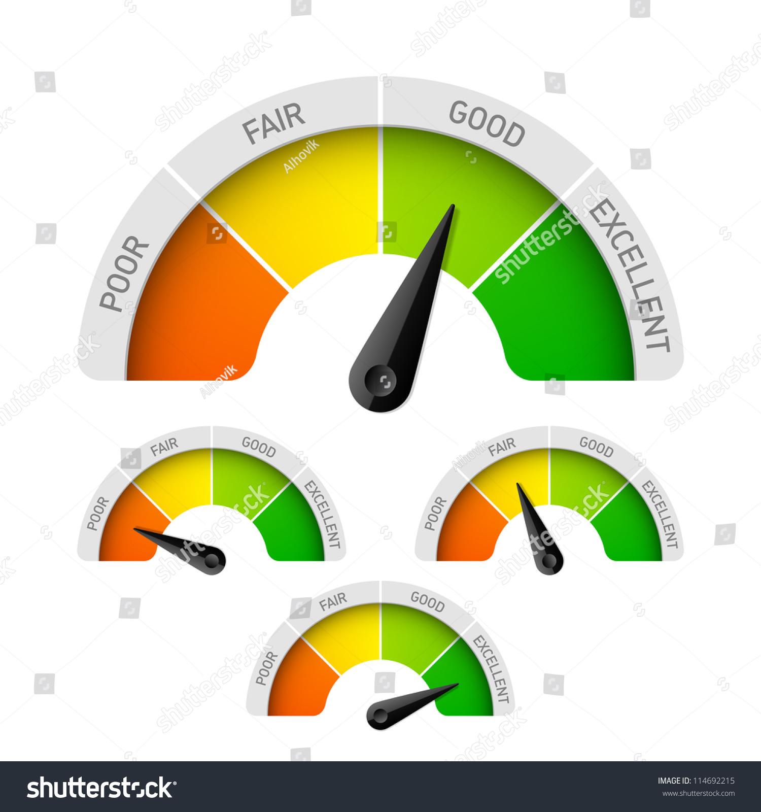 poor fair good excellent rating meter stock vector 114692215