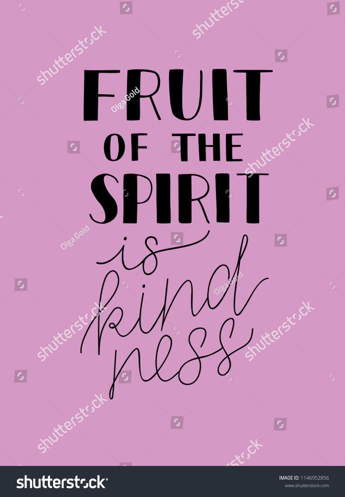 Hand Lettering Fruit Spirit Kindness Bible Stock Vector Royalty