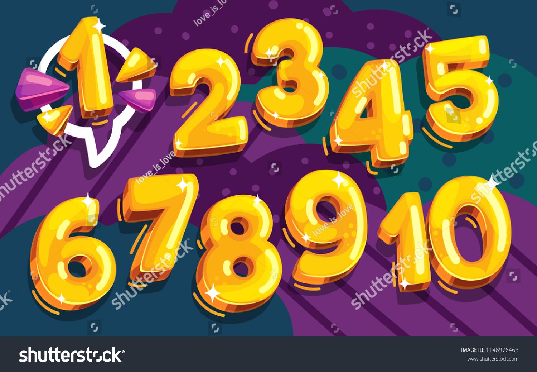 cartoon vector set of golden numbers #1146976463