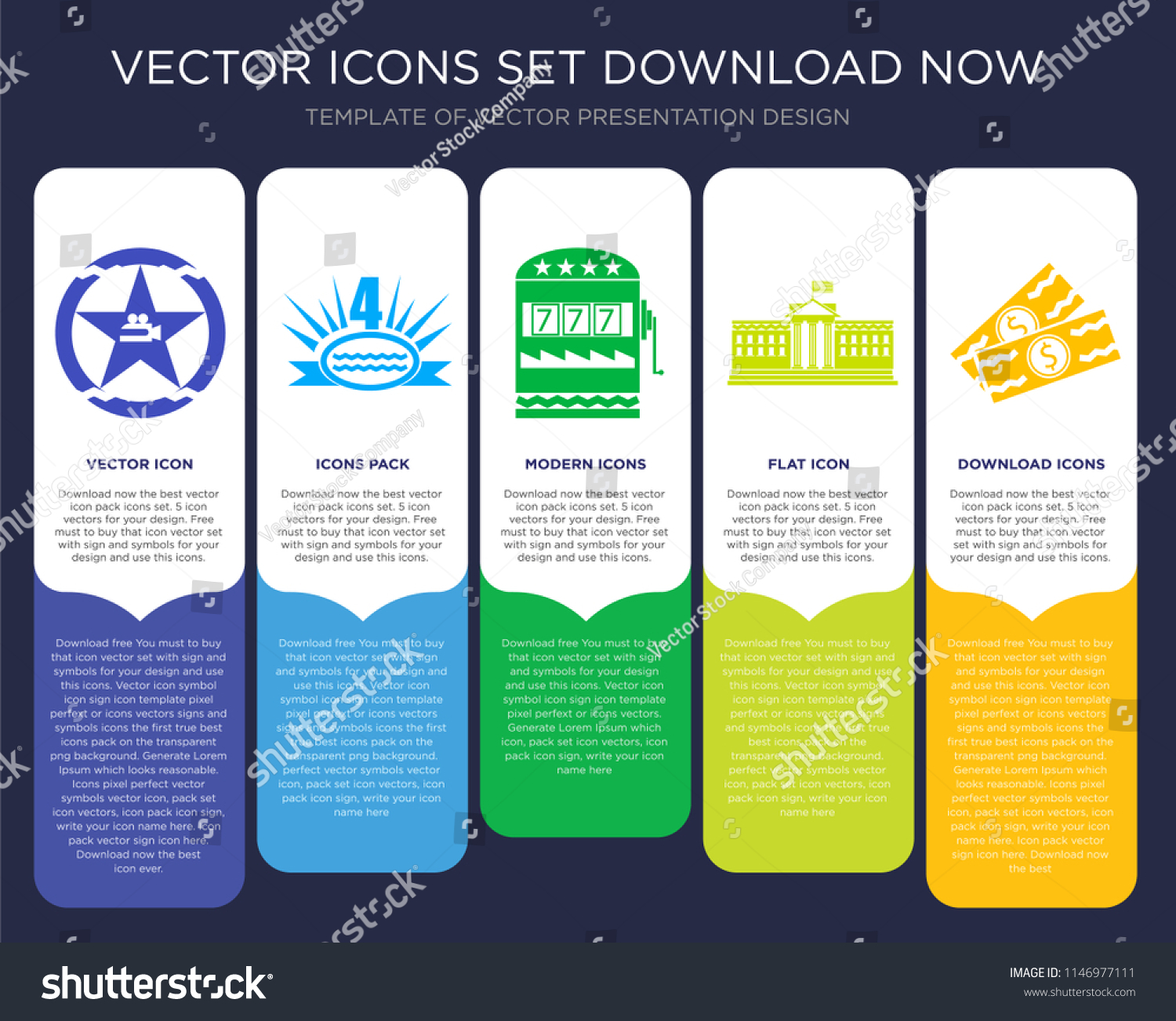 5 Vector Icons Such Walk Fame Stock Vector 1146977111 Shutterstock