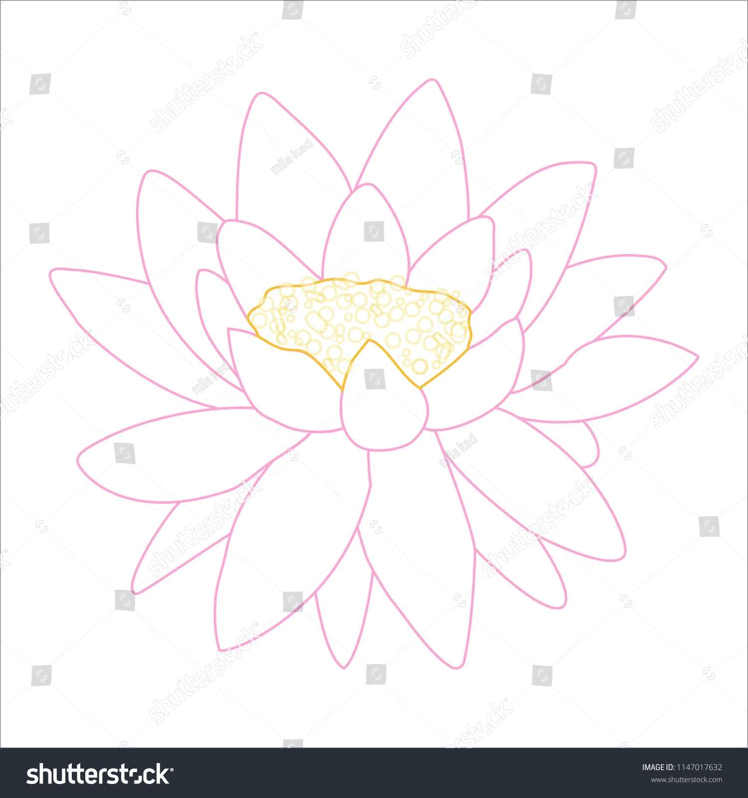Vector Lotus Flower Outline Stock Vector Royalty Free 1147017632