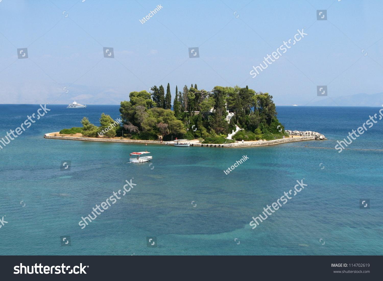 Mouse Island Corfu, Pontikonisi. Stock Photo 114702619 ...