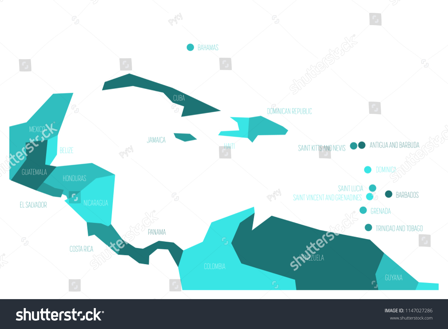 Map Of America And Caribbean.Map Central America Caribbean Simplified Schematic Stock Vector