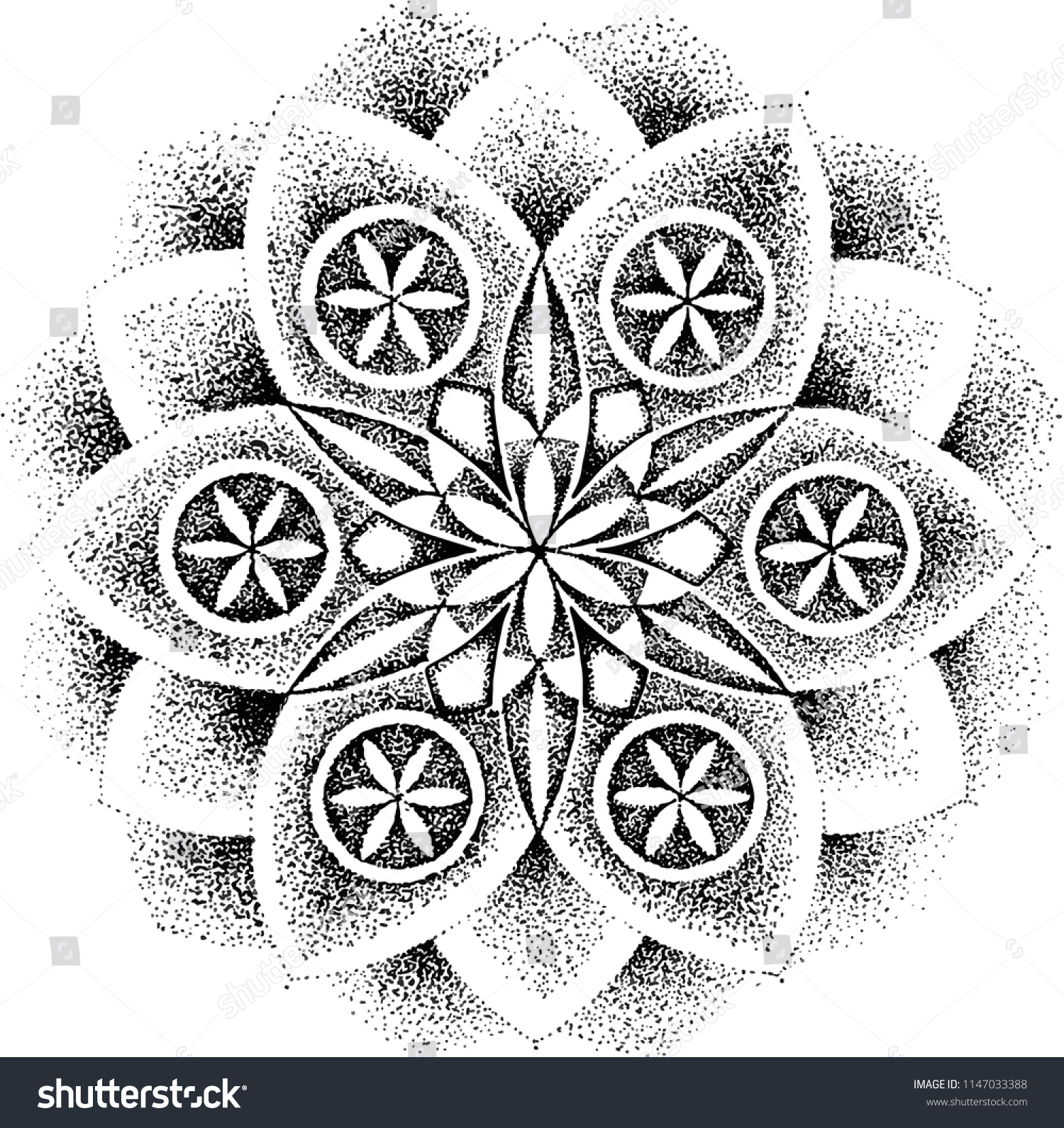Sacred Geometry Drawing Flower Life Can Stock Vector Royalty Free