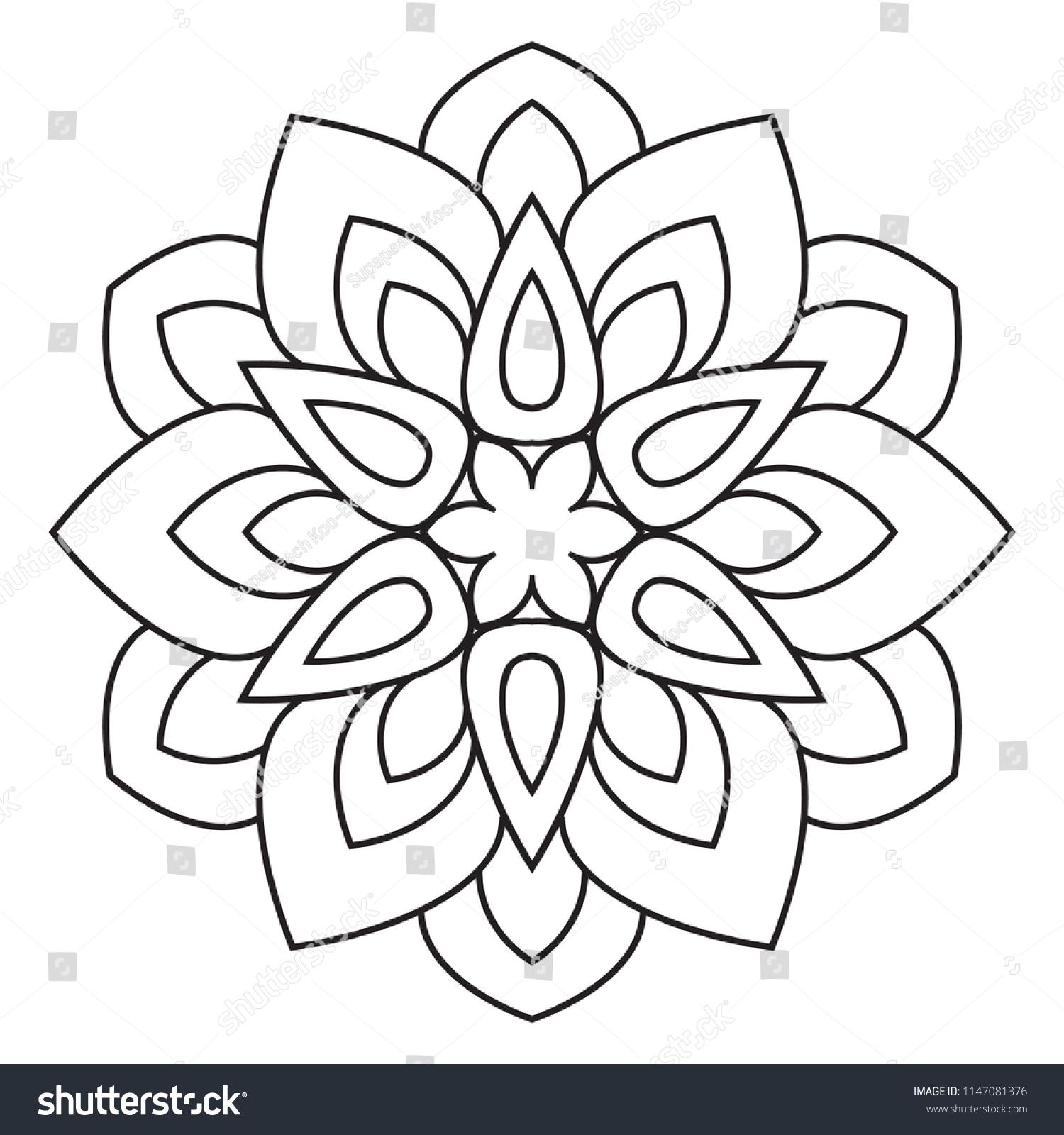 Easy Mandala Basic Simple Mandalas Coloring Stock Illustration ...
