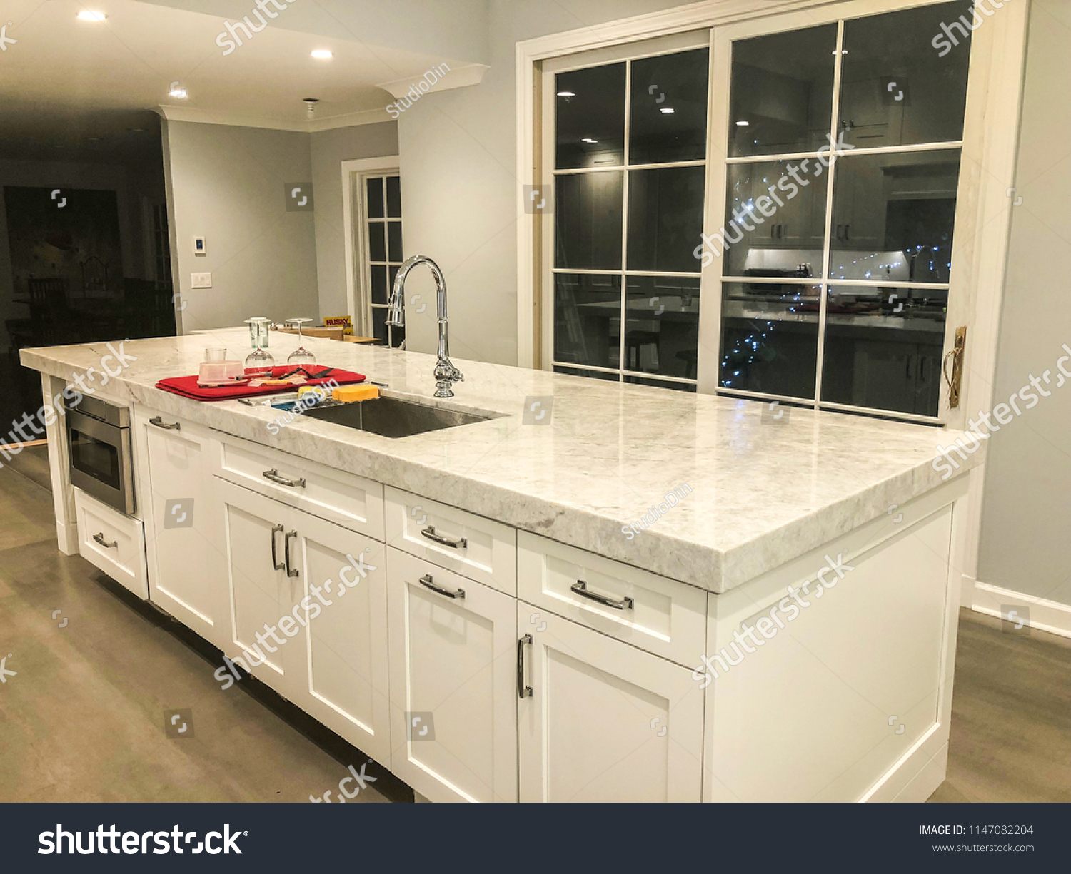 Modern White Kitchen Marble Countertop Porcelain Stock Photo Edit Now 1147082204
